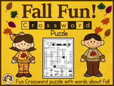"Fall Crossword Puzzle Worksheet -""Fun"""