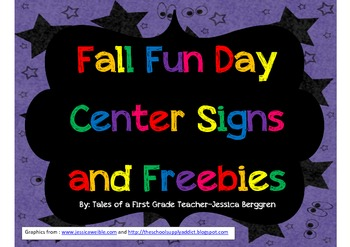 Fall Fun Day Center Signs and Freebies