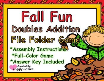 Fall Fun Doubles Addition File Folder Game