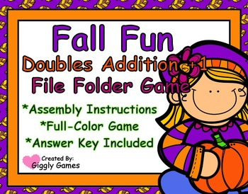 Fall Fun Doubles Addition Plus One File Folder Game