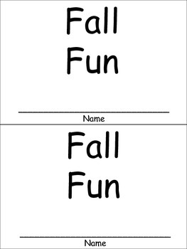 Fall Fun Emergent Reader for Kindergarten