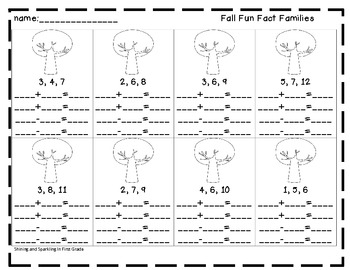 Fall Fun Fact Families Freebie {Math Center}