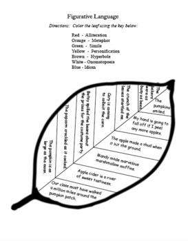 Fall Fun! Figurative Language Metaphor Simile Alliteration Personification Idiom