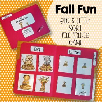 Fall Fun File Folder Game: Big & Little Sort