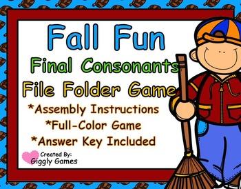 Fall Fun Final Consonants File Folder Game