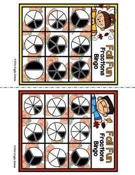 Fall Fun Fractions Bingo Game
