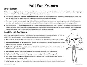 Fall Fun Frames Writing Activity