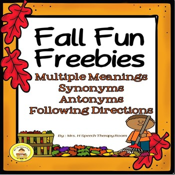 Fall Fun  Freebie-Synonyms, Antonyms, Multiple Meanings and Following Directions
