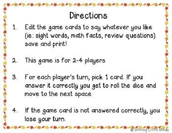 Fall Fun Game Board
