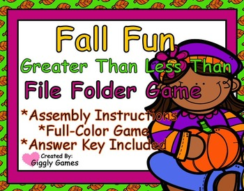 Fall Fun Greater Than Less Than File Folder Game