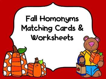 Fall Homonyms Matching & Worksheets