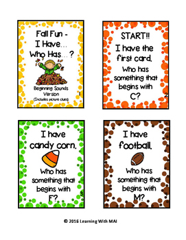 Fall Fun - I Have, Who Has? Beginning Sound Edition