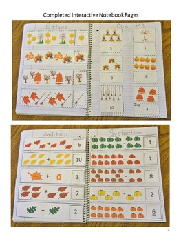 Fall Math Literacy Interactive Notebook Activities Special Education Fine Motor