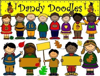 Fall / Autumn Kids Clip Art by Dandy Doodles