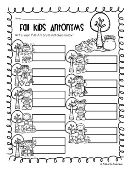 Fall / Autumn: Fun Kids and Fall Trees Antonyms Match