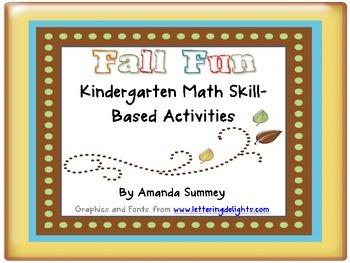 Fall Fun Kindergarten Standards Based Math Bundle