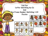 Letter Matching Aa-Zz And Ten Frame Number Matching 1-20 - Fall Fun