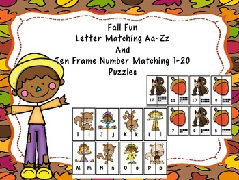 Letter Matching Aa-Zz And Ten Frame Number Matching 1-20 -