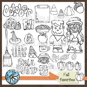 Fall Fun Line Art - Pumpkins - Scarecrow - Frankenstein - Leaves