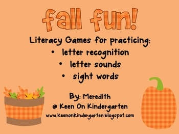 Fall Fun: Literacy Games Pack