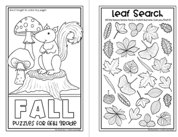 Fall Fun Mini-Book of Puzzles for Fifth Graders