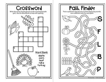 Fall Fun Mini-Book of Puzzles for Kinders