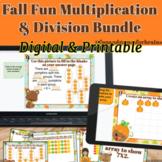 Fall Fun Multiplication and Division Task Card Bundle - Di