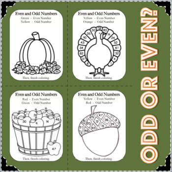 Fall Fun! Odd and Even Numbers Math Activity Coloring Cards