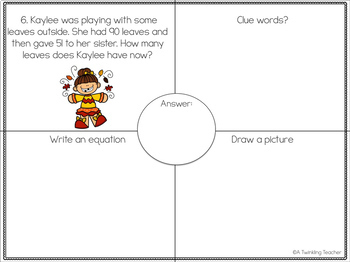 Fall Fun One Step Word Problems within 100!