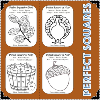 Fall Fun! Perfect Squares Student Activity Center Math Concept Game