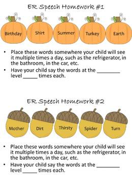 Fall Fun /R/ Therapy Activities and Homework Pack