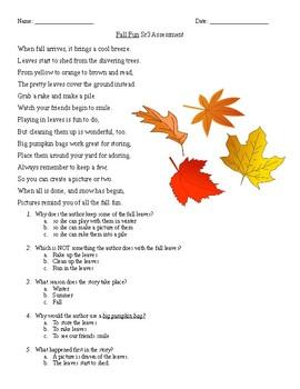 Fall Fun Reading Comprehension