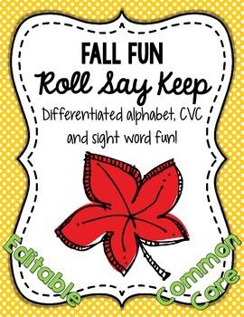 Fall Fun Roll Say Keep: Editable Alphabet, CVC & Sight Wor