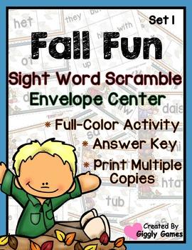Fall Fun Sight Word Scramble Envelope Center Set 1