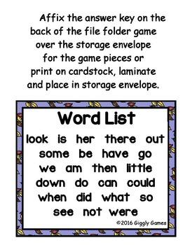 Fall Fun Sight Word Scramble Envelope Center Set 2