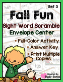 Fall Fun Sight Word Scramble Envelope Center Set 3