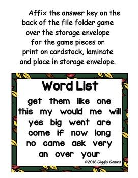 Fall Fun Sight Word Scramble Envelope Centers Bundle