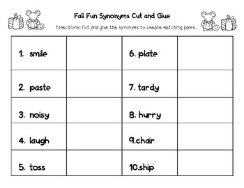 Fall Synonym Matching & Worksheets