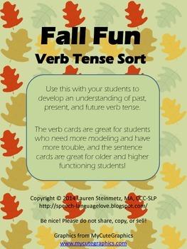 Fall Fun Verb Tense Sort