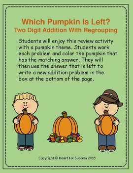 Fall Fun: Which Pumpkin Is Left?  Two Digit Addition With Regrouping