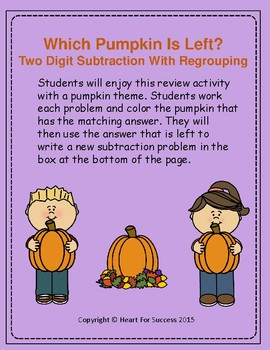 Fall Fun:  Which Pumpkin Is Left? Two Digit Subtraction With Regrouping
