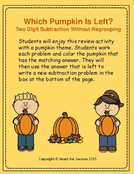Fall Fun: Which Pumpkin Is Left?  Two Digit Subtraction Without Regrouping