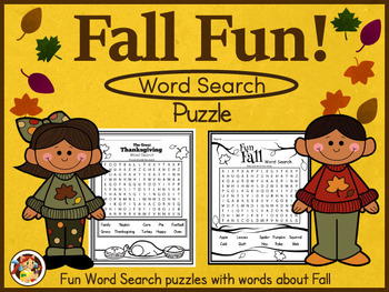 """Fall & Thanksgiving Word Search Worksheets -""""Fun"""""""