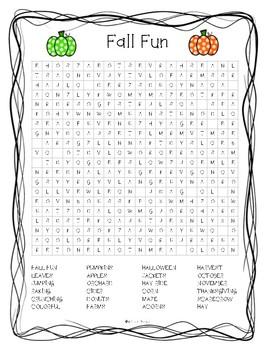 Fall Fun Wordsearch
