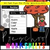 Preschool Fall Fun Worksheets