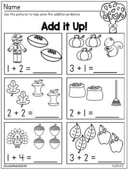 Fall Fun!  Worksheets For Kindergarten - ELA and Math