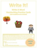 Fall Fun Write It! Write-A-Word Handwriting Practice Cards