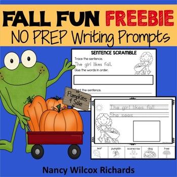 Fall Writing Prompts FREEBIE   No Prep