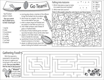 Fall Fun and Foliage Two-Page Activity Set