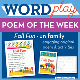 Fall Fun - un Word Family Poem of the Week - Short Vowel U Fluency Poem